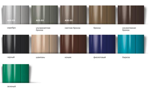 Цветовая гамма анодированных профилей